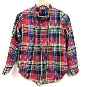 Ralph Lauren Ruffle Plaid Flannel Girls Popover